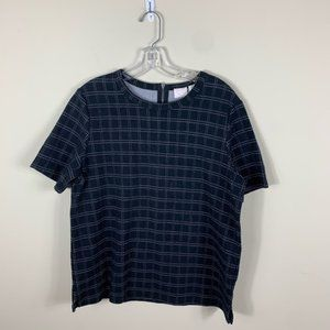 Anthropologie black and white plaid boxy t…